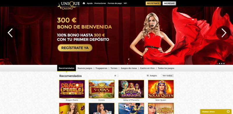 Unique Casino página principal